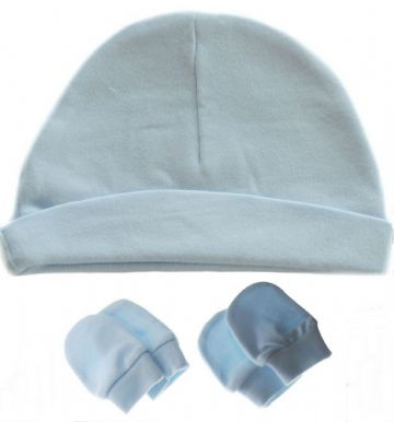 Plain Baby 100% Cotton Beanie Hat & Mitts Blue